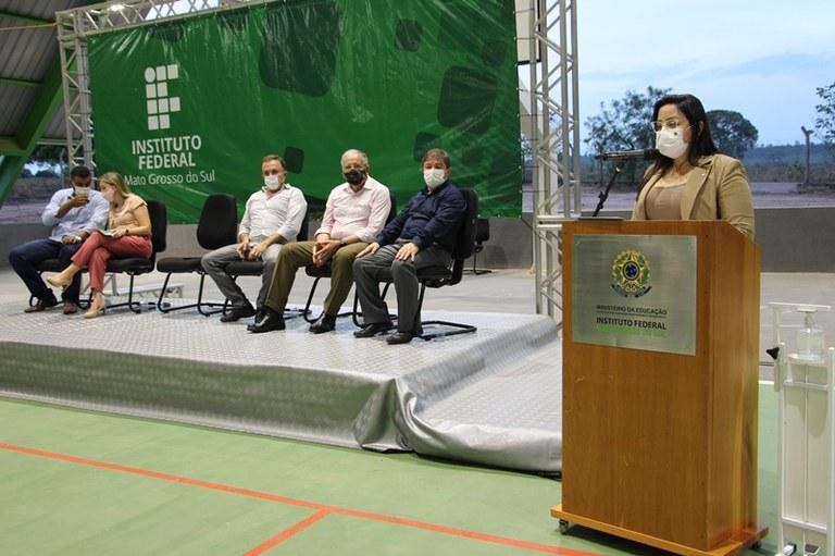 Reitora fala à comunidade em primeiro evento presencial de 2021 - Foto: Ascom/IFMS